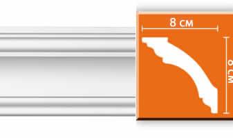 Плинтус потолочный гладкий B063F гибкий