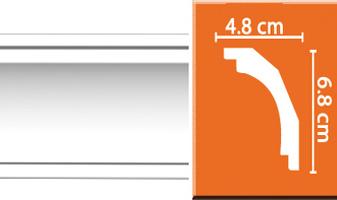 Плинтус потолочный гладкий B050F гибкий